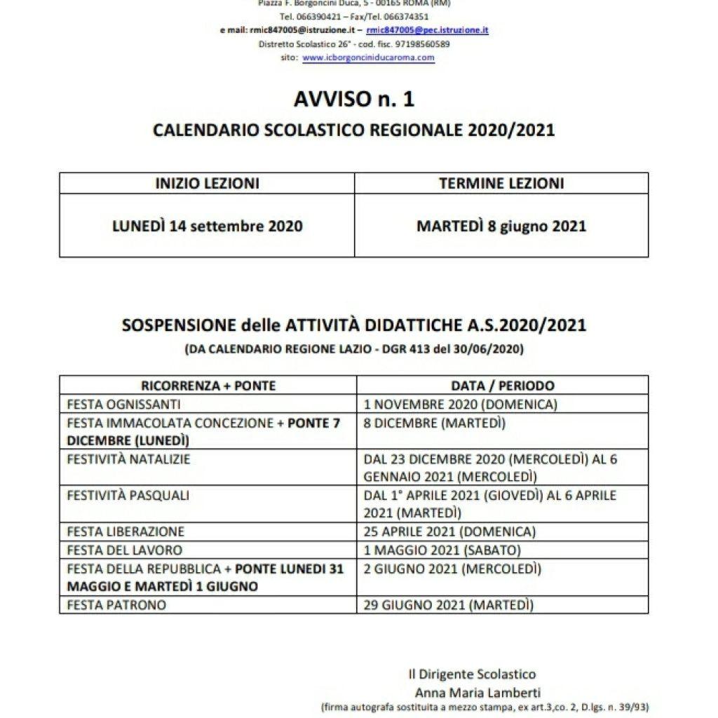 CALENDARIO SCOLASTICO REGIONALE 2020/2021 – I.C. Borgoncini Duca